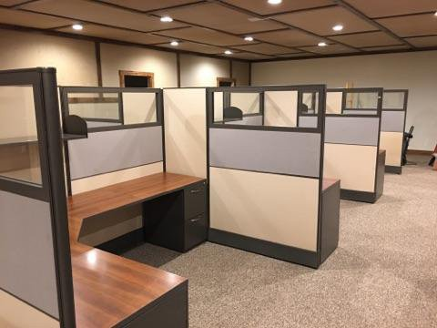 stylish cubicles in an office