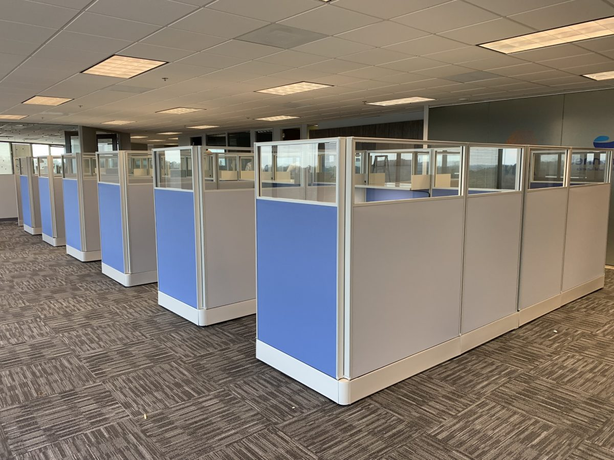 office layout with rows of cubicles